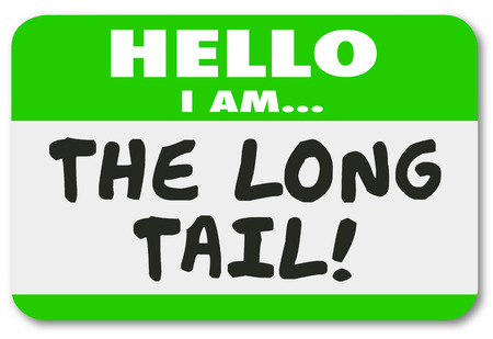 customer: The Long Tail Name Tag Sticker Lasting Long Running Results Illustration Stock Photo