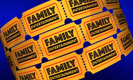 가족 엔터테인먼트 티켓 쇼 극장 3D 일러스트레이션 스톡 콘텐츠