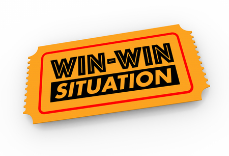 Win-Win Situation Ticket Lucky Result Good Outcome 3d Illustration Stock fotó