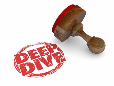 tiefe: Deep Dive Erkunden Thema Tiefe Runde Stempel Wörter 3d Illustration