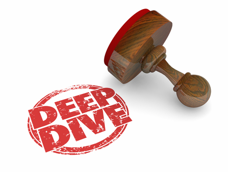 Deep Dive Explore Topic Depth Round Stamp Words 3d Illustration