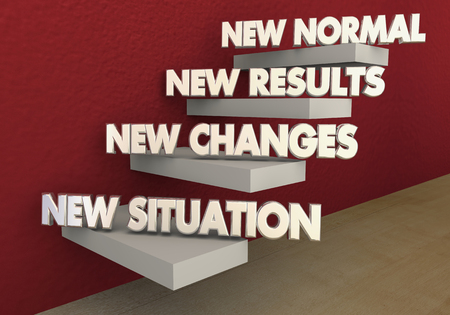 New Normal Situation Changes Results Steps 3d Illustration Stock Photo