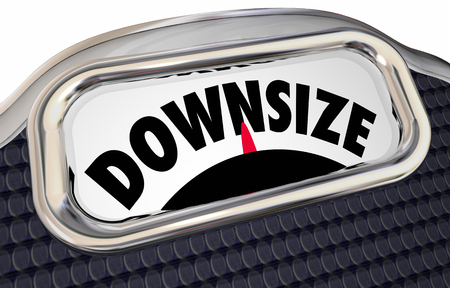 downsized: Downsize Scale Word Lower Weight Cut Back 3d Illustration