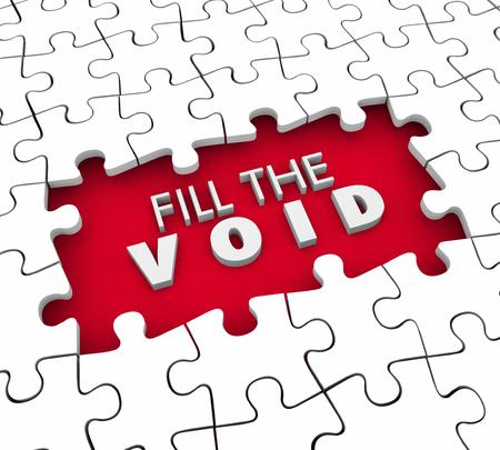 Vul de Void Puzzle Pieces Vervulling Leeg Ruimte 3D Illustratie Stockfoto