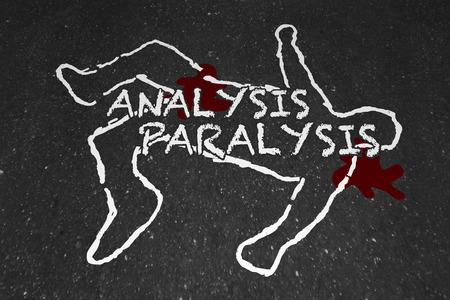 Analyse verlamming Dood door overanalyseer krijtoverzicht 3d illustratie Stockfoto