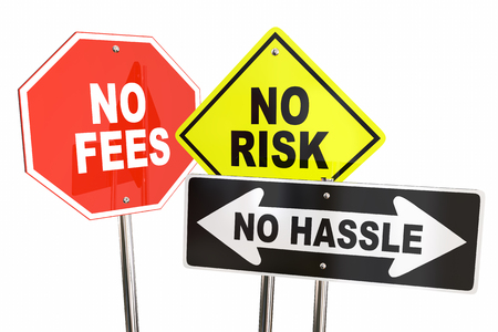 No Risk Fees Hassle Signs Road Street Best Choice 3d Illustration