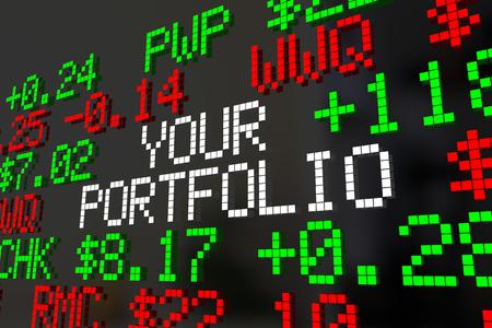 Your Portfolio Stocks Market Ticker Investments 3d Illustration Stock Photo