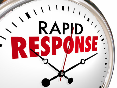 Rapid Response Clock Quick Fast Reaction 3d Illustration Stock Photo