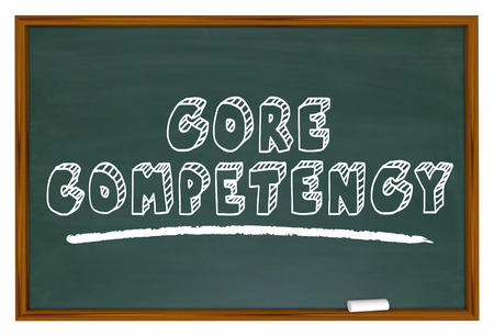 renown: Core Competency Chalkboard Top Capability Competitive Edge 3d Illustration