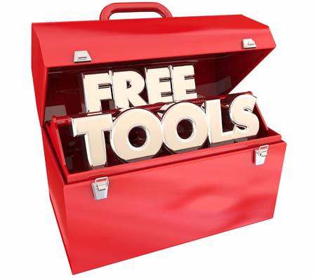 Gratis tools Geen kosten Middelen Toolbox Woorden 3d illustratie