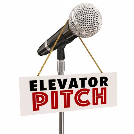 Elevator Pitch Microphone Proposal Persaude Investors Customers 3d Illustration