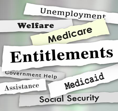 Entitlements Government Programs Medicare Medicaid Welfare News Headlines Illustration Stock Photo
