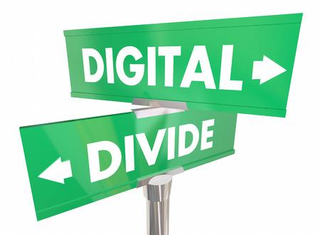 Digital Divide Internet Access Separation Two Signs 3d Illustration