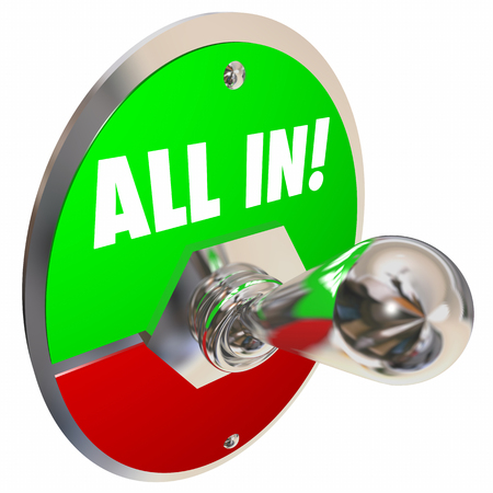 All In Total Complete Buy-in Switch Lever 3d Illustration Stock fotó - 80862723
