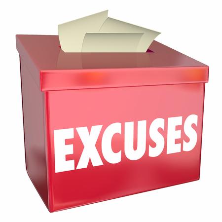 Excuses Suggestie Box Woord Redenen Waarom 3d Illustratie
