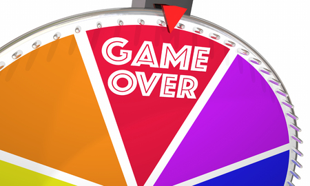 Game Over Spinning Wheel Playing End Final 3d Illustration