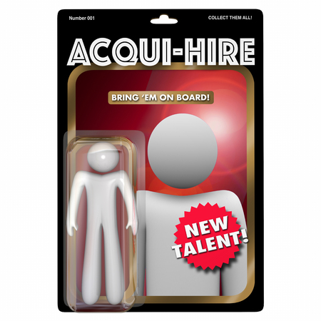 business people: Acqui-Hire Action Figure Acquire Hiring New Talent 3d Illustration Stock Photo