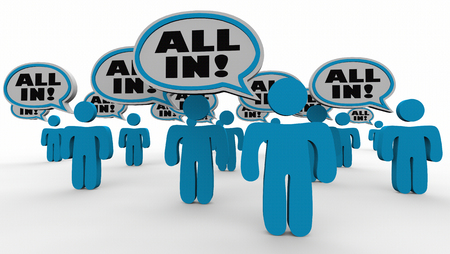 All In People Speech Bubbles Commitment Agreement 3d Illustration Stock Photo