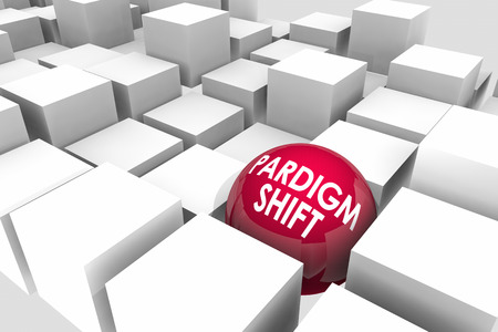 Paradigm Shift Major Change Disruption Cubes Sphere 3d Illustration Stock Photo
