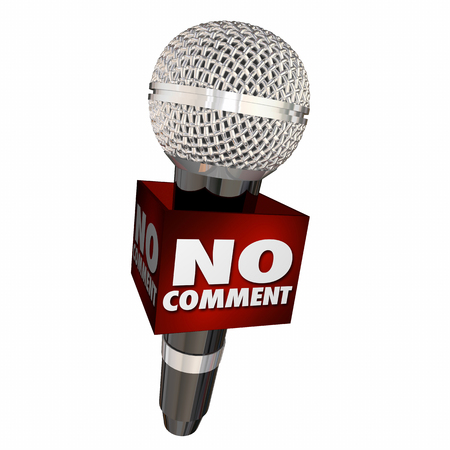 refusing: No Comment Microphone Interview Refuse Answer 3d Illustration Stock Photo