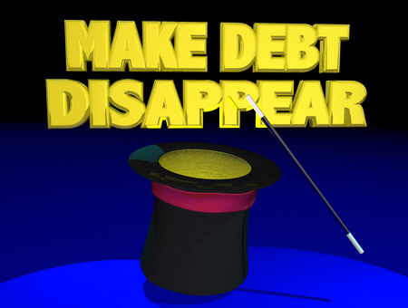 Make Debt Disappear Magic Hat Wand Trick 3d Illustration