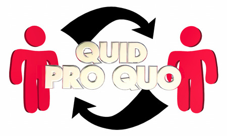 Quid Pro Quo Two People Mutual Trade Benefits 3d Illustration