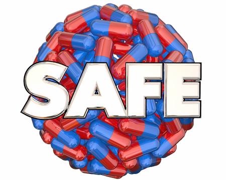 Safe Pills Capsules Medicine Medication Testing 3d Illustration Фото со стока