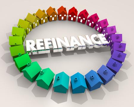 Refinance Loan Home Mortgage Houses Debt 3d Illustration Stock Photo
