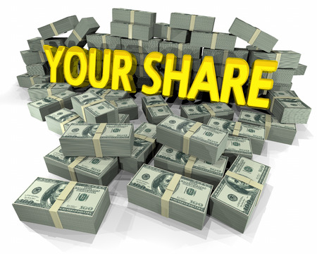 Your Share Money Cash Piles Sharing Wealth 3d Illustration Фото со стока