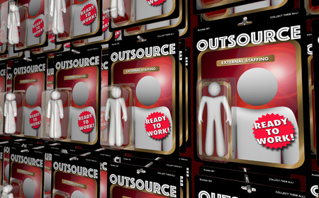 Outsource Hiring External Workers Employees Action Figures 3d Illustration