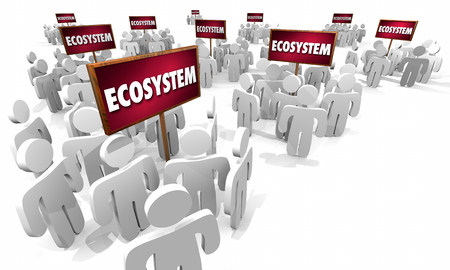 Ecosystem People Customers Around Signs Business 3d Illustration Stock Photo