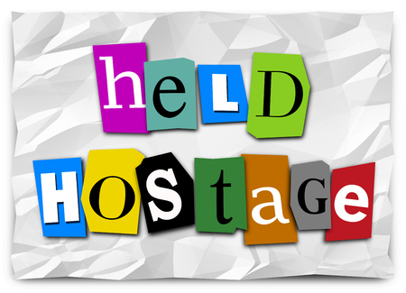 Held Hostage Ransom Note Demand Words Illustration Stock Photo