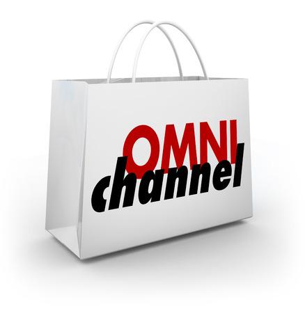 Omni Channel Shopping Bag Online Physical Store Platform 3d Illustration Stok Fotoğraf