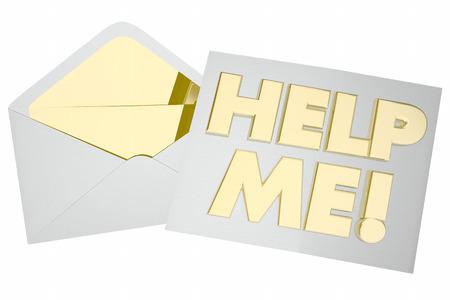 Help me Envelop Pleidooi voor hulp Ondersteuning 3d illustratie Stockfoto - 81154337