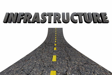 Infrastructure Word Road Construction 3d Illustration
