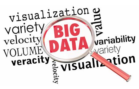 Big Data Volume Variety Velocity Magnifying Glass Mots 3d Illustration Banque d'images - 81355624