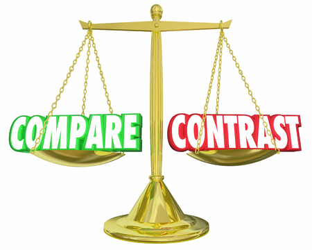 contrasting: Compare and Contrast Scale Comparison Two Things 3d Illustration Stock Photo