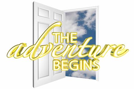 beginnings: The Adventure Begins Door Opening Start Journey 3d Illustration