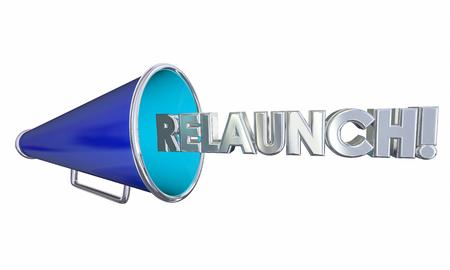 Relaunch Start Over Again Megaphone Bullhorn 3d Illustration