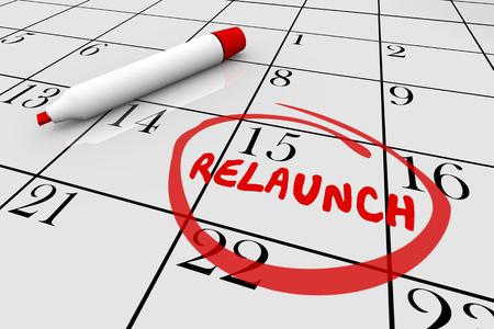 Relaunch Restart Begin Again Calendar Day Date 3d Illustration Banco de Imagens