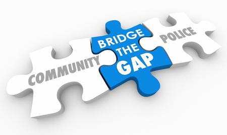 Bridge Gap Tussen Community en Politie Puzzel 3D Illustratie Stockfoto - 81116364
