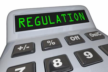 Regulation Calculator Regulate Business Costs 3d Illustration Stock Photo
