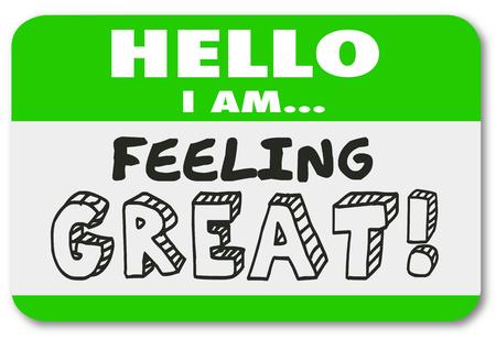 Hallo ich fühle mich großer Namensschild Aufkleber Gute Emotion Illustration Standard-Bild - 81116368