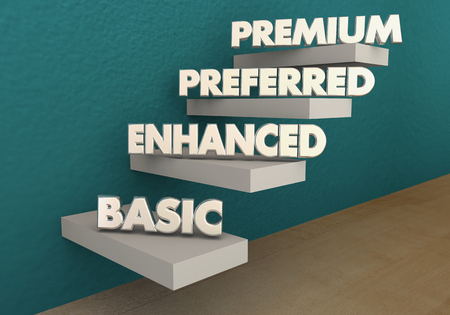 Basic Enhanced Preferred Premium Steps Levels 3d Illustration