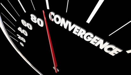joining forces: Convergence Joining Together Speedometer Success 3d Illustration Stock Photo