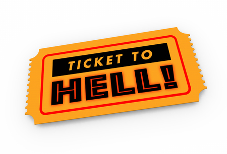 Ticket to Hell Bad Trip Awful Experience 3d Illustration Фото со стока
