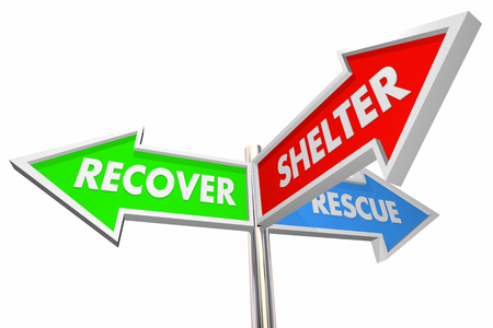 word: Recover Rescue Shelter Signs Savings Helping 3d Illustration
