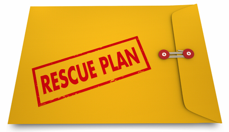 word: Rescue Plan Yellow Envelope Stamp Save Strategy 3d Illustration