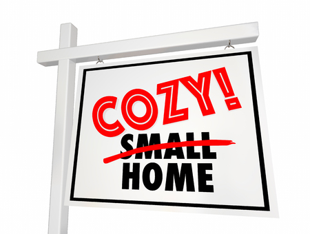 Cozy Small Home House for Sale Sign Real Estate 3d Illustration Stock Photo