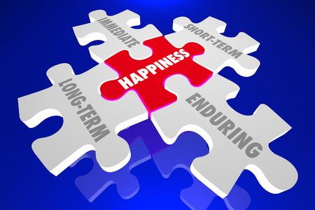 Happiness Long Short Term Immediate Enduring 3d Illustration